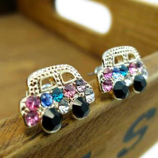 Colorful Diamond Car Earrings -gold Gold - One Size