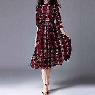 Plaid Elbow Sleeve Midi Dress