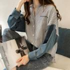 Denim Panel Striped Shirt