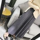 Pleated Maxi Knit Skirt