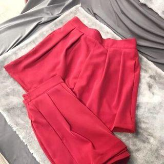 High-waist Wide-leg Chiffon Shorts Red - One Size