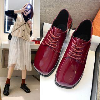 Block Heel Lace Up Square-toe Oxfords