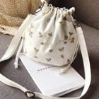 Embroidered Floral Canvas Bucket Bag