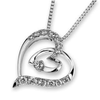 18k White Gold Double Heart Round Diamond Accents Pendant Necklace (1/5 Cttw) (free 925 Silver Box Chain, 16)