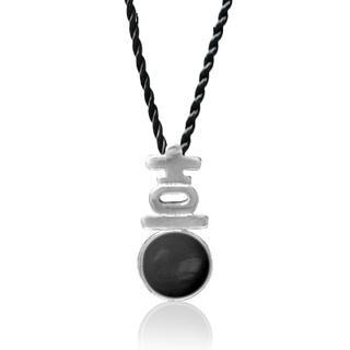 Black Agate Pendant With Silk Cord