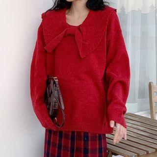 Peter Pan-collar Plain Knit Sweater / High-waist Contrast Plaid Woolen Skirt