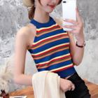 Sleeveless Rainbow Stripe Knit Halter Top