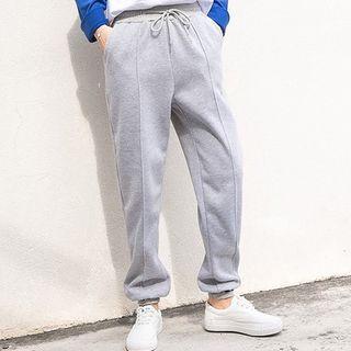 Drawstring Lettering Sweatpants Gray - M