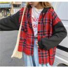 Plaid Panel Hooded Shirt Jacket