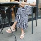 Drawstring-waist Pattern Long Skirt