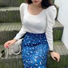 U-neck Puff-sleeve Cropped Knit Top
