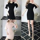 Short-sleeve Cold Shoulder Sheath Dress