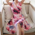 Sleeveless Wrapped Floral Dress