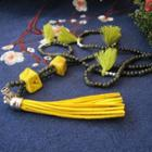 Ceramic Bead Tassel Necklace Cube - Army Green - One Size