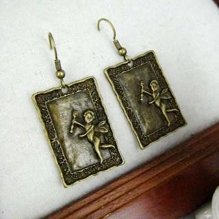 Copper Angel Stamp Earrings Copper - One Size