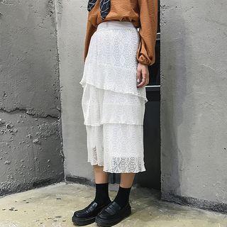 Lace Layered Midi Skirt