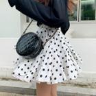 Godet-hem Polka-dot Layered Miniskirt