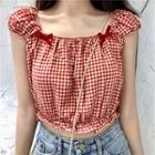 Cap-sleeve Plaid Top Red - One Size