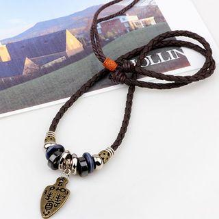 Genuine Leather Pendant Necklace Coffee - One Size