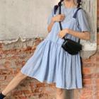 Plain Short-sleeve Top / Check Sleeveless Dress