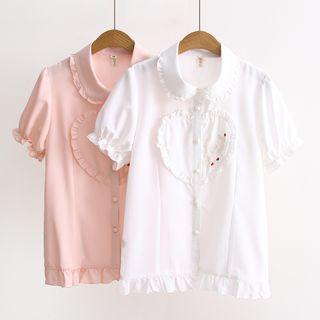 Short-sleeve Heart Embroidered  Shirt