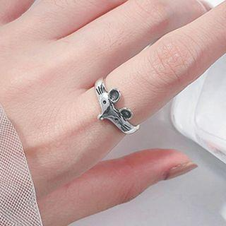 925 Sterling Silver Mouse Ring Silver - One Size