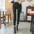 Zipped Brushed-fleece Lined Skinny Pants
