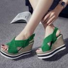 Wedge-heel Cross Strap Sandals