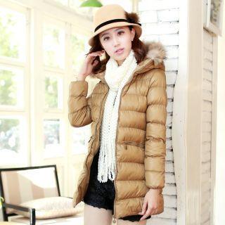 Furry-trim Hooded Padded Coat