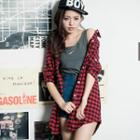 Long-sleeve Plaid Long Shirt