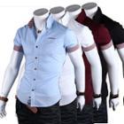 Short-sleeve Gingham Trim Shirt