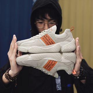 Lettering Paneled Mesh Sneakers