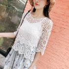 Elbow-sleeve Crochet Lace Top