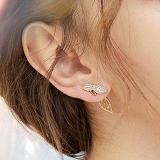 Non-matching Rhinestone Drop Earring 1 Pair - Silver Stud - Gold - One Size