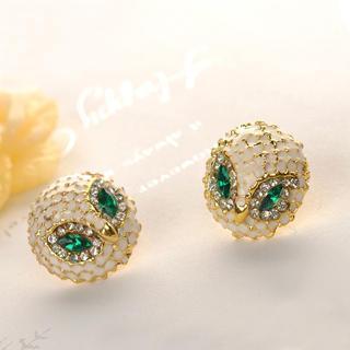 Rhinestone Owl Earrings  Gold - One Size
