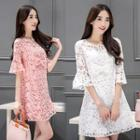 Elbow-sleeve Bow-accent A-line Dress