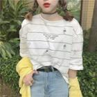 Distressed Lettering Loose-fit Striped T-shirt