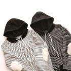 Elbow Patch Striped Hoodie