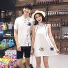 Couple Matching Print Short-sleeve Polo Shirt / Sleeveless A-line Dress