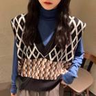 Turtleneck Long-sleeve Top / Patterned Knit Vest