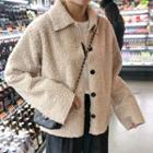 Fleece Button Jacket Off-white - One Size