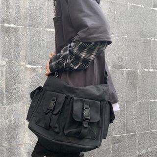 Canvas Messenger Bag Black - Black