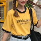 Short-sleeve Lettering Contrast-trim T-shirt