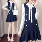 Set: Long-sleeve Ribbon-neck Blouse + Sleeveless A-line Mini Dress