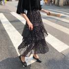 Floral Printed Chiffon Skirt