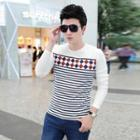 Long-sleeve Round-neck Striped T-shirt