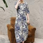 Linen Cotton Print Short-sleeve Dress