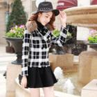Faux-fur Check Button Jacket