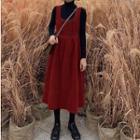 Long Sleeve Turtleneck Top / Buttoned High Waist Pinafore Dress