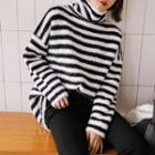 Turtle-neck Striped Furry Knit Top